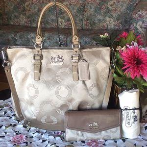 Coach Madison Dotted Op Art Emma Bag & Wallet
